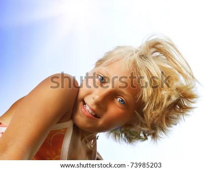 Happy Cute Little Girl outdoors