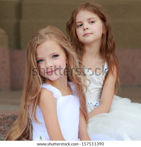 Free Photos Lovely Cute Little Girls With Long Hair In Long White