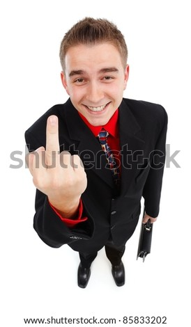 Happy, cynical businessman showing middle-finger. High angle view