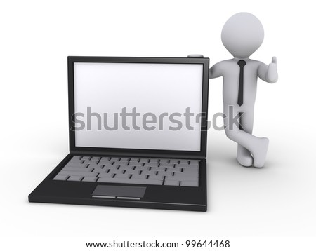Happy 3d businessman holding a laptop