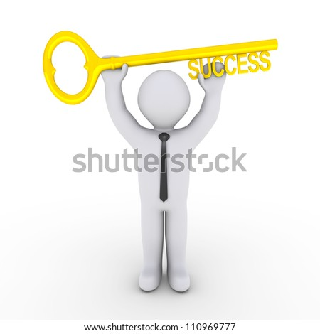 Happy 3d businessman is holding a golden key of success