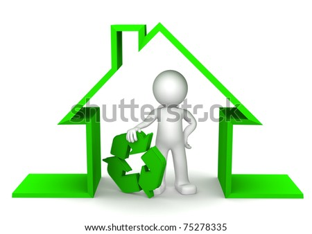 Happy 3d character inside eco house holding recycle symbol on white
