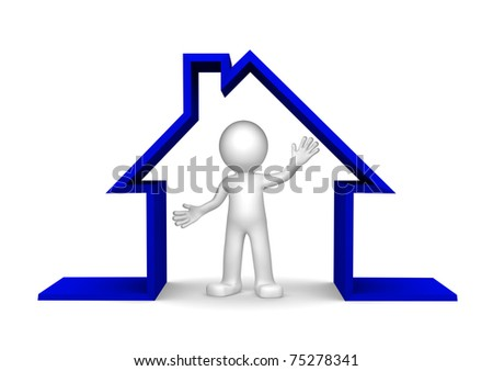 Happy 3d character inside house on white background