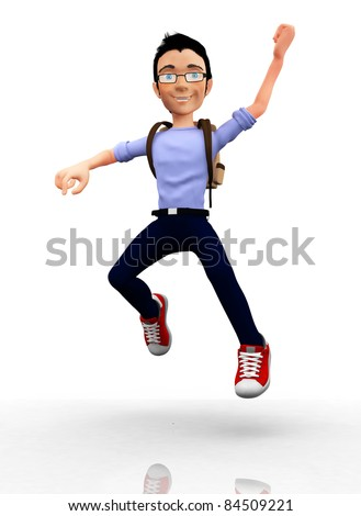 Happy 3D male student jumping with arms up - isolated over white