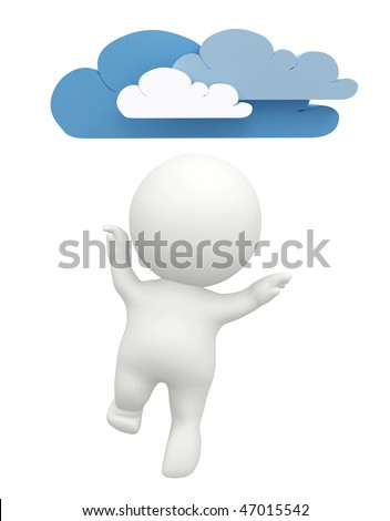 Happy 3D man figure with clouds isolated over a white background