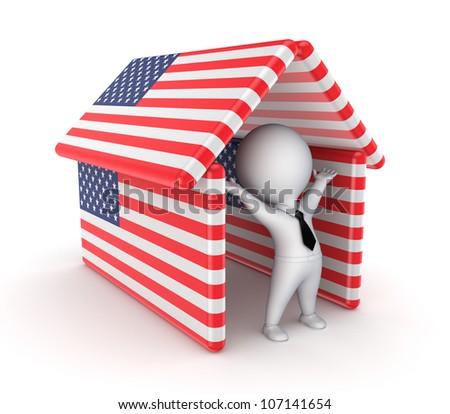 Happy 3d small person under the roof made of American flags.Isolated on white background.