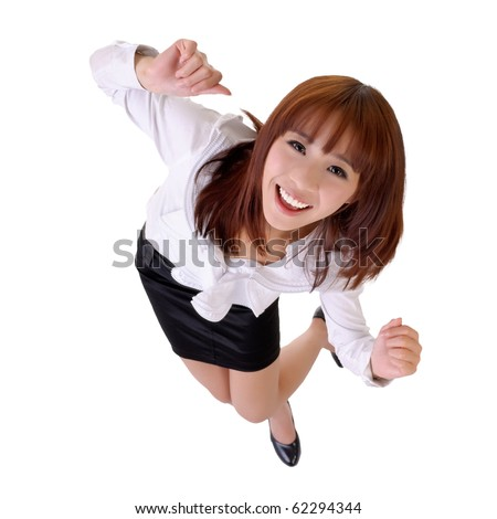 Happy dancing business woman of Asian, full length portrait isolated on white.