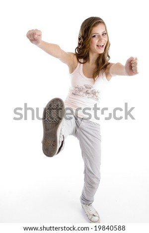 happy dancing female on an isolated background