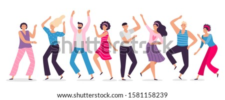 Happy dancing people. Friends dance, club female and male dancers. Exciting music party, disco dancing friends character flat  illustration