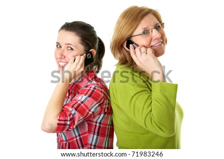 happy daughter and mother talks over mobile phones, isolated on white