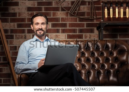 Happy delighted businessman smiling Foto stock ©