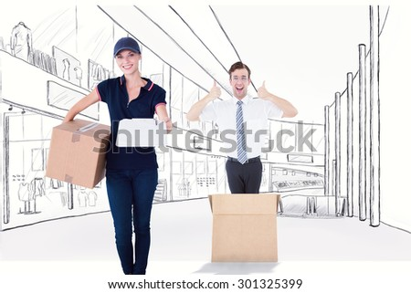 Happy delivery woman holding cardboard box and clipboard against sketch design of a mall