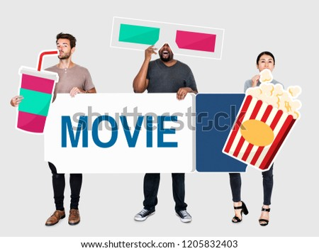 Stock Photo Happy diverse people holding movie icons