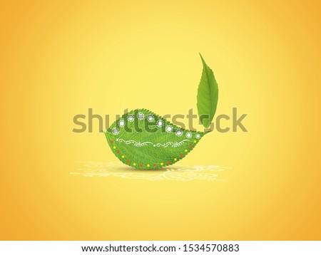 Happy Diwali Festival- Green Diya lamps lit on colorful diwali background green leaf eco concept. Deepavali or dipavali the festival of lights, diwali celebration, fesrival, green concept.