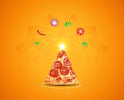 Happy Diwali Indian festival holiday design with pizza shape of crackers on orange or yellow background. various masala explosion with decorative festive background for restaurant or food brand.