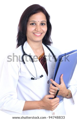 Happy doctor woman holding a folder