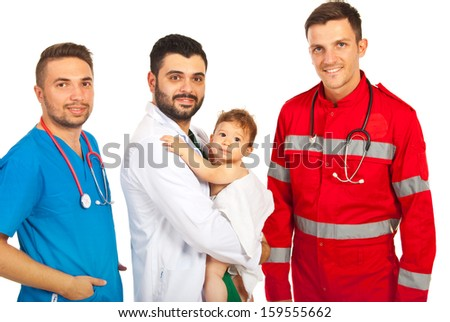 Happy doctors with baby boy isolated on white background