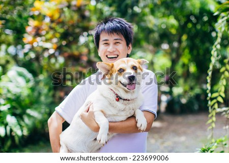 happy dog and her owner