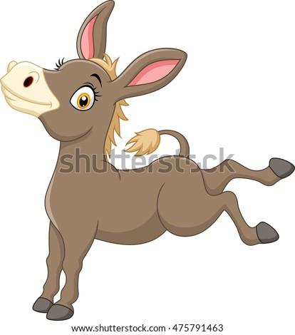 Happy cartoon donkey isolated on white… Stock Photo