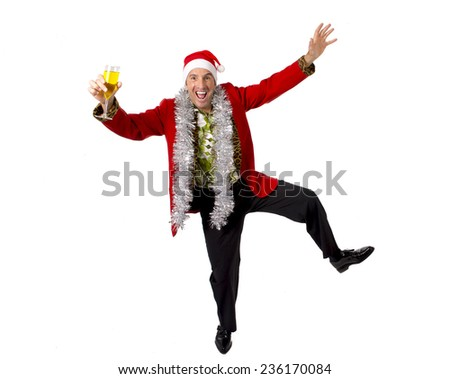 happy drunk rake senior businessman in Champagne Christmas toast celebrating xmas party at work wearing Santa hat and red jacket isolated on white background