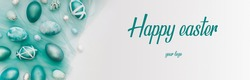 Happy Easter banner with teal typography and eggs