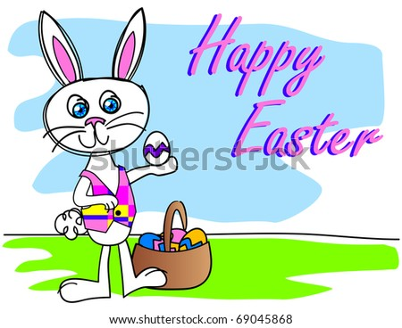 Happy Easter Bunny with a basket of eggs in a loose sketch style  Vector Available