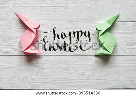 Happy Easter Calligraphy Paper Origami Handmade Pink Green – Calligraphy Paper Template