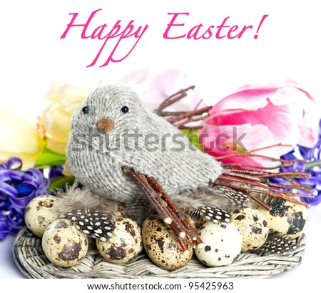 Happy Easter! card design. easter decoration with spring flowers. bird with eggs and feathers