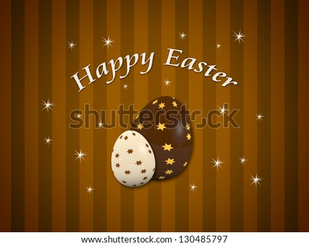 Happy Easter card with two decorated chocolate eggs