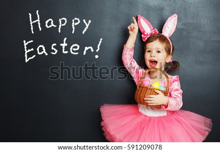 happy easter  child girl with...