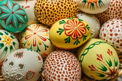 Happy Easter.Colorful hand painted decorated Easter eggs. Handmade Easter craft.Spring decoration background. Festive tradition for Eastern European countries.Holiday Still life photo selective focus