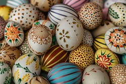 Happy Easter.Colorful hand painted decorated Easter eggs. Handmade Easter craft.Spring decoration background. DIY Festive traditional symbols.Holiday Still life photo selective focus