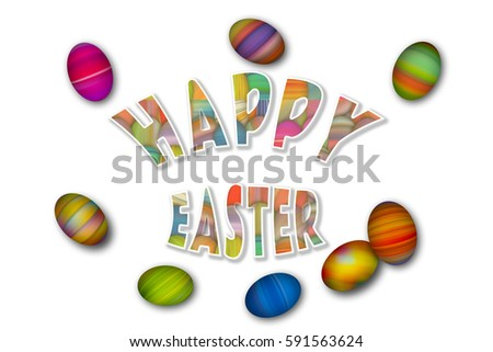 Happy Easter colorful holiday background with colorful painted Easter eggs, isolated on white #591563624