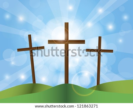 Happy Easter Day Good Friday Cross on Sun Rays on Sky Blue Bokeh Circles and Blurred Background Illustration Raster Vector