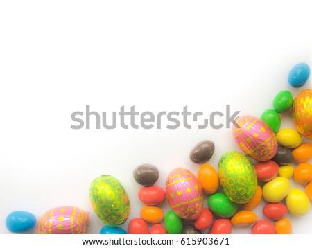 "Happy Easter Day greeting card with copy space for text "" Happy Easter Day "" Chocolate colorful Easter eggs isolated on white background #615903671"