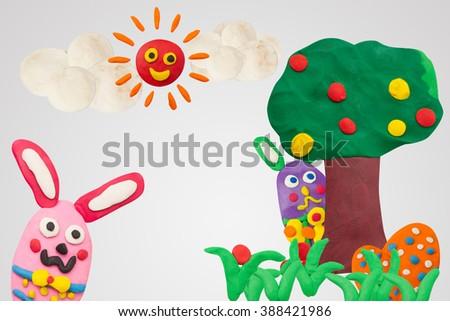Happy Easter Day, handmade plasticine Happy Story #388421986