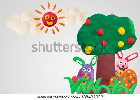 Happy Easter Day, handmade plasticine Happy Story #388421992