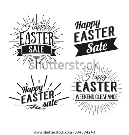 Happy Easter greeting card. Easter sale. Hand Drawn logo lettering. Easter Holidays lettering for invitation, greeting card, prints and posters. Typographic design. Vector illustration.