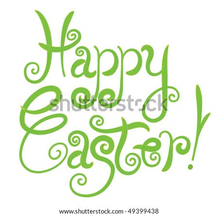 happy easter greeting card / green