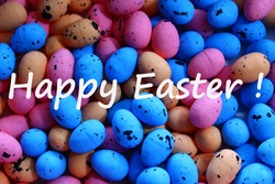 happy easter greetings with many colourful eastereggs