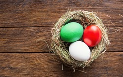 Happy Easter holiday card, Easter eggs as the color of the Italian flag,