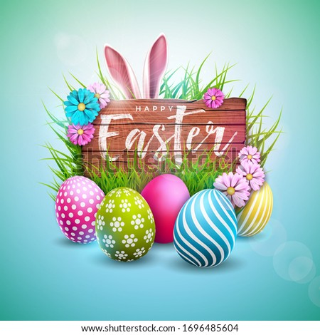 Happy Easter Holiday Design with Painted Egg, Flower and Rabbit Ears on Vintage Wood Background. International Celebration Illustration with Typography for Greeting Card. JPG version. 3d illustration Сток-фото ©