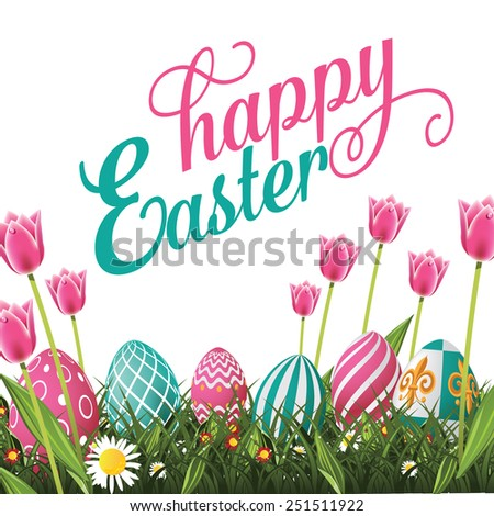 Happy Easter isolated with white background. Royalty free stock illustration for greeting card, ad, poster, flier, blog, article