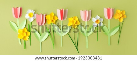 Happy Easter paper craft for kids. Paper DIY seasonal flowers tulips pastel green background. Spring decor, reate art for children, daycare, kindergarten, flyer greeting card, holiday concept Сток-фото ©
