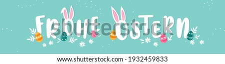 Happy Easter Typographical Background saying in german language 'Happy Easter' With Easter Eggs, Ears and decoration - great for banners, wallpapers, invitations, cover images   Foto stock ©