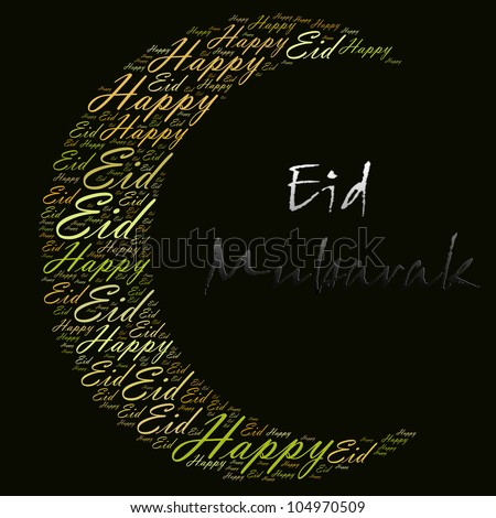 stock photo : Happy Eid greeting word cloud composed in the shape of new moon crescent. Eid is the main muslim festival celebration which include Eid Fitr after the fasting month and Eid Adha after the hajj season.