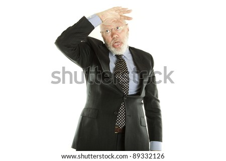 Happy elderly man is making funny gesture to show how tired he is on white background