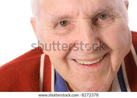 happy elderly man isolated on white