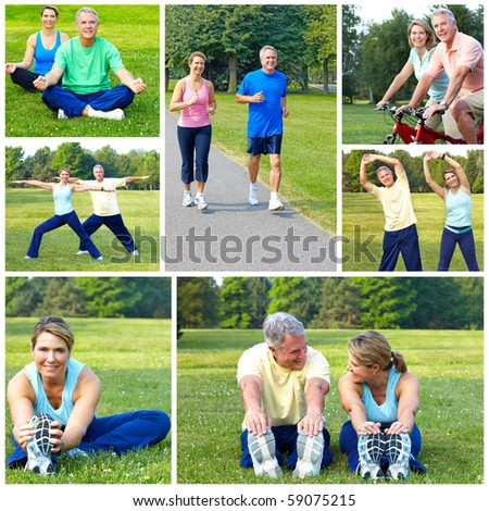 Happy elderly senior couple cycling, jogging, working out  in park - stock photo