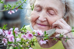 Happy elderly woman in a protective respiratory mask sniffs a branch of a blossoming pink peach tree. Quarantine, health, precautions. Coronavirus covid19. Spring enjoyment. Enjoyment. Closed eyes